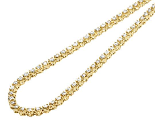 Jewelry Unlimited 10K Yellow Gold 1 Row Iced Tennis Choker Diamond Chain Necklace 21