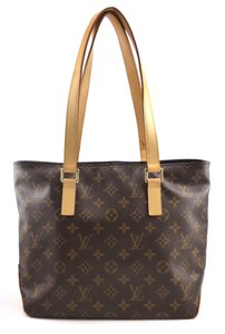 Louis Vuitton Monogram Canvas Leather Tote in Brown