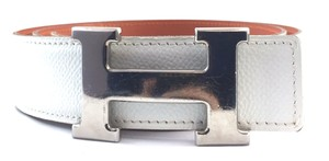 Herms #16241 32Mm Gold H Belt Size 80 Reversible leather