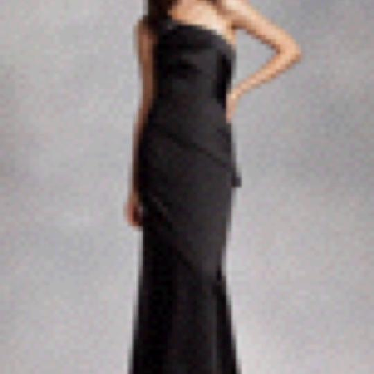 Vera Wang Black Satin One Shoulder Asymmetrical Skirt Modern Bridesmaid/Mob Dress Size 8 (M)