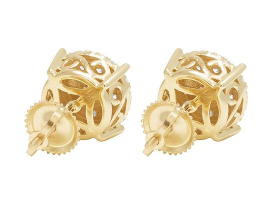 Jewelry Unlimited 10K Yellow Gold Round Cluster Halo Diamond Stud Earrings 12mm 1.5CT