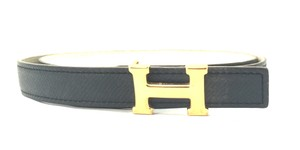 Herms #16229 Rare 18Mm Gold H Size 75 Reversible leather Belt