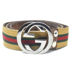 Gucci Gucci GG Brown Green Red Fabric Silver Buckle Belt