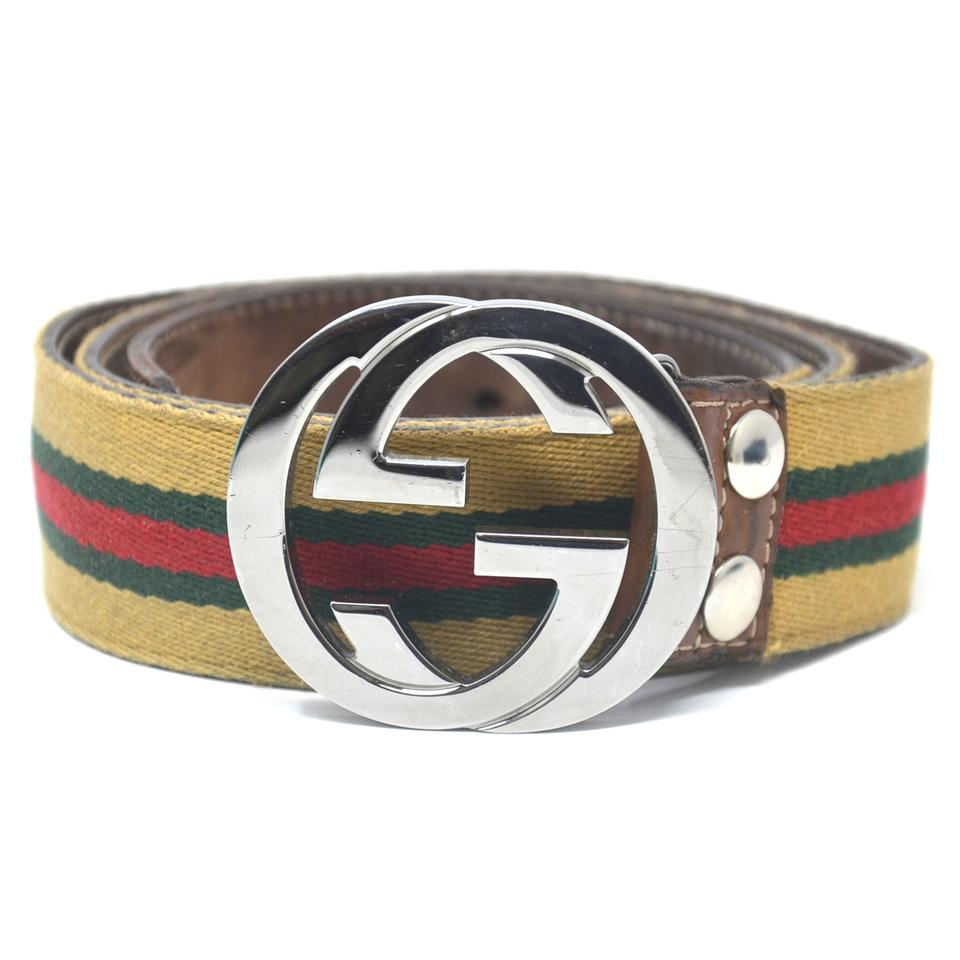 d8b8cbf4fe5d Gucci Gucci GG Brown Green Red Fabric Silver Buckle Belt Image 0 ...