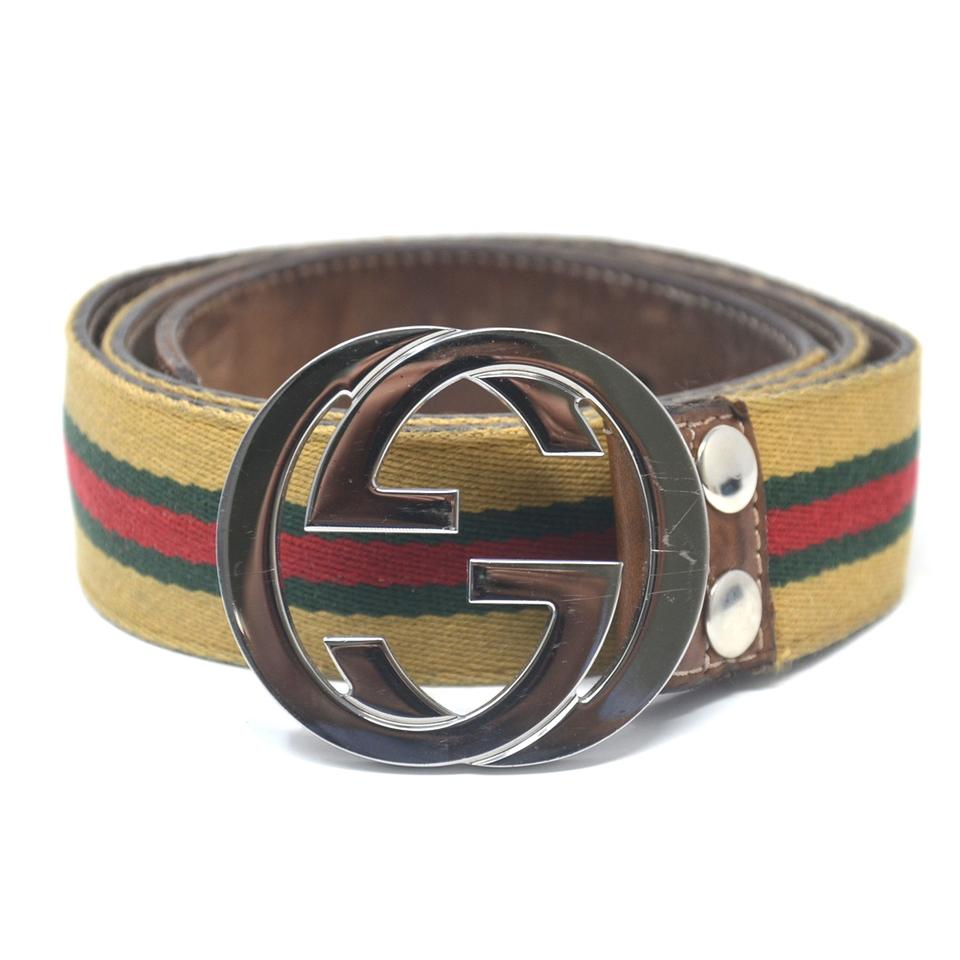 ae1c5a9baa8e Gucci Brown Gg Green Red Fabric Silver Buckle Belt - Tradesy