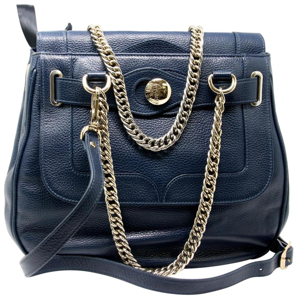 afaf3c5c0a Versace Collection Signature Pebble Medusa Head Chrome Hardware Chain Link  Midnight Blue Leather Shoulder Bag