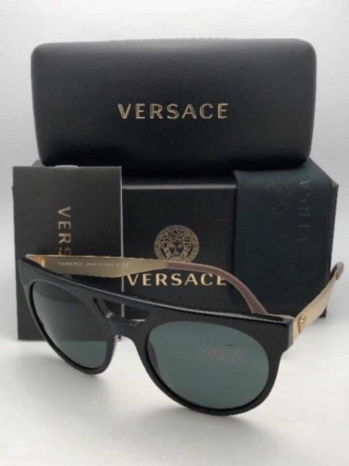 485c1c1d1c Versace New Ve 4339 5248 87 55-20 Black   Gold Frame W  Grey Lenses ...