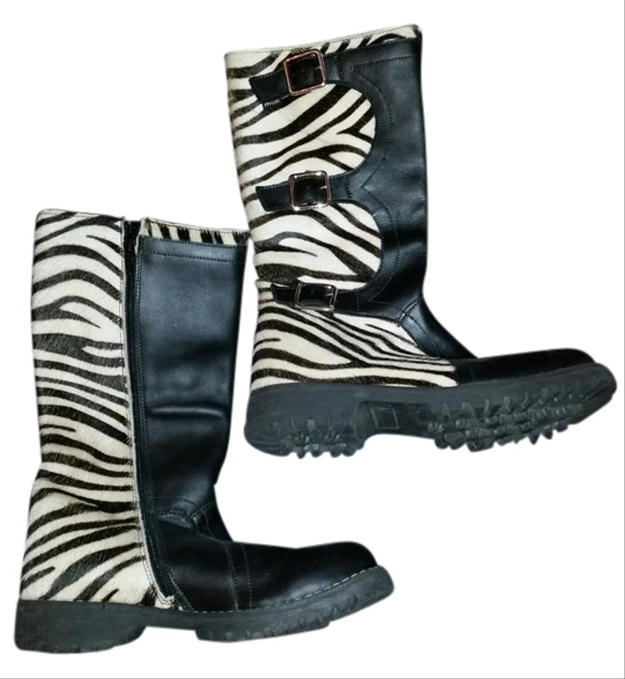 0780387824 Black   Zebra Pattern Cow Hair Leather Boots Booties Size US 6 ...