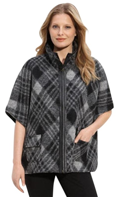Revue Gray New Blurred Wool Blend Plaid Poncho/Cape Size 12 (L) Revue Gray New Blurred Wool Blend Plaid Poncho/Cape Size 12 (L) Image 1