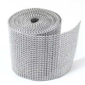 "New 4.75"" X 10 Yards Silver Diamond Mesh Wrap Roll Sparkle Bling Rhinestone Ribbon Crystal Ribbon Table Wedding Party"
