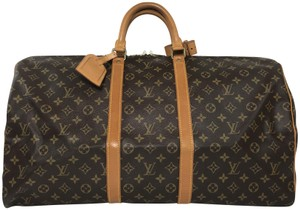 Louis Vuitton Keepall 55 Monogram Leather Brown Travel Bag