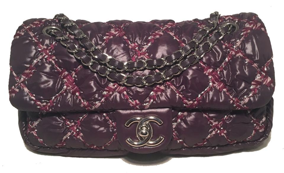 461be3f1fd7e Chanel Classic Flap Plum Quilted Puffy Purple Nylon Shoulder Bag ...