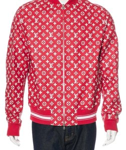 Louis Vuitton x Supreme Red White Leather Jacket