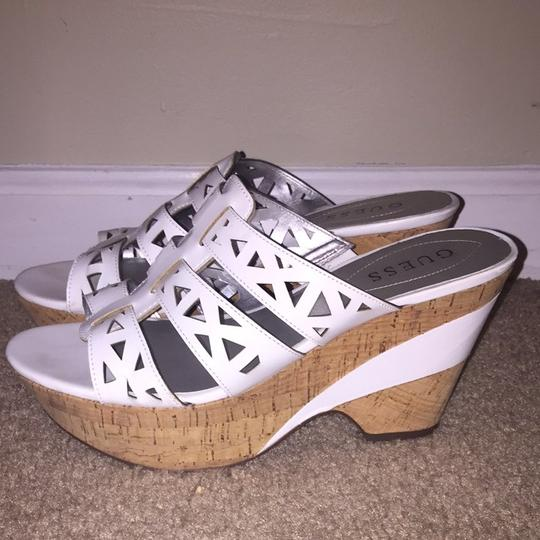 Guess White Mules