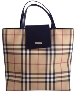 Burberry Tote in black/ tan / red