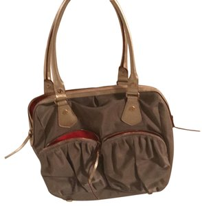 MZ Wallace Tote in Tan/Orange with a gold leather trim