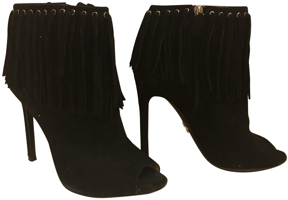 897a677445cee Prada Black Suede Peep-toe Fringe Ankle Boots Booties Size EU 37 (Approx.  US 7) Regular (M