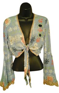 Betsey Johnson 100% Silk Top Blue Floral