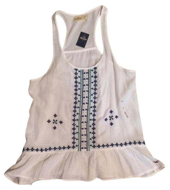 Hollister Top White blouse with multicolor embroidery