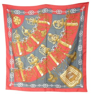 Herms HERMES Cliquetis Square Scarf 100% Silk 34.3 inches