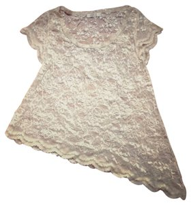 LF Cream Lace T-shirt Top white