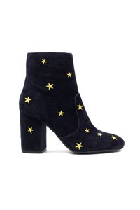 Lola Cruz Leather Suede Ankle Star Black Boots