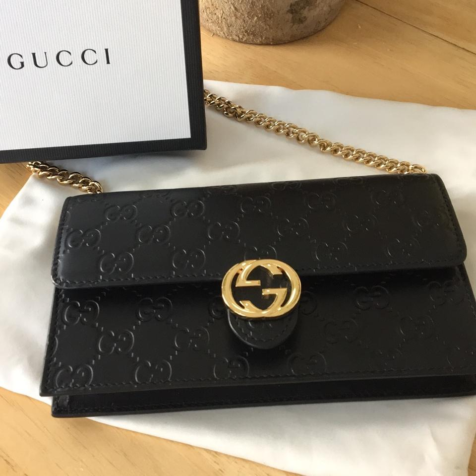 9a7b117d731c Gucci Chain Wallet Icon Black Signature Leather Cross Body Bag - Tradesy