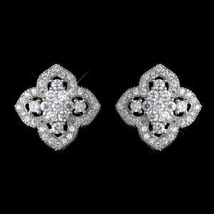 Elegance By Carbonneau Rhodium Silver Cz Stud Vintage Look Earrings