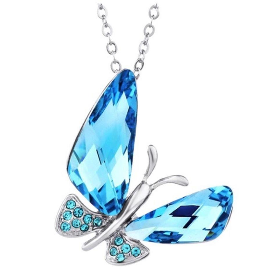 5ae3d63173ba2 Blue Swarovski Crystals The Mari Butterfly Necklace 61% off retail