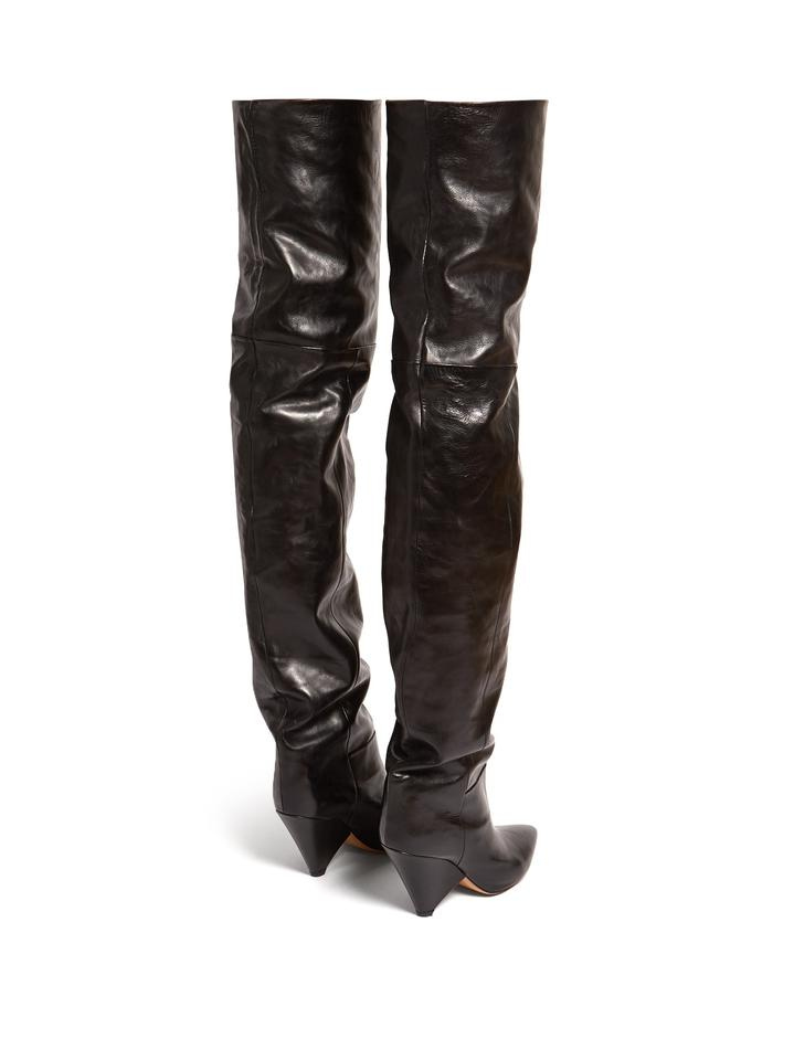 345e0e9b10f Isabel Marant Black Lostynn Leather Over-the-knee Boots Booties Size ...