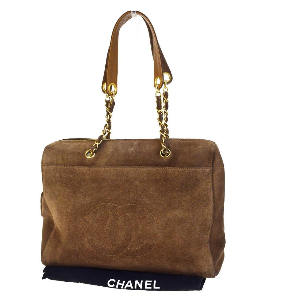 Chanel Cc Chain Tote Italy Vintage 20 Brown Suede Leather Shoulder ... 87cebac4fcfb5