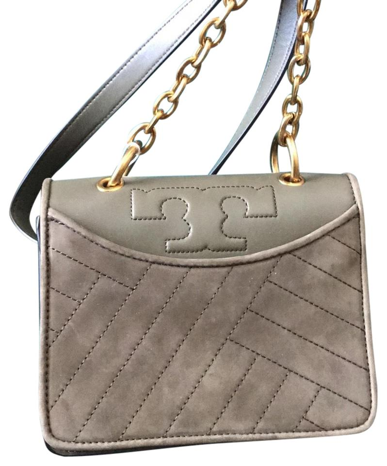 563cc4156f9 Tory Burch Olive Green Banana Leaf Half Leather and Half Suede Cross ...