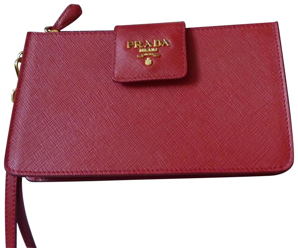 43884bbaff75da Prada Saffiano Iphone 1zh032 Red Leather Wristlet - Tradesy
