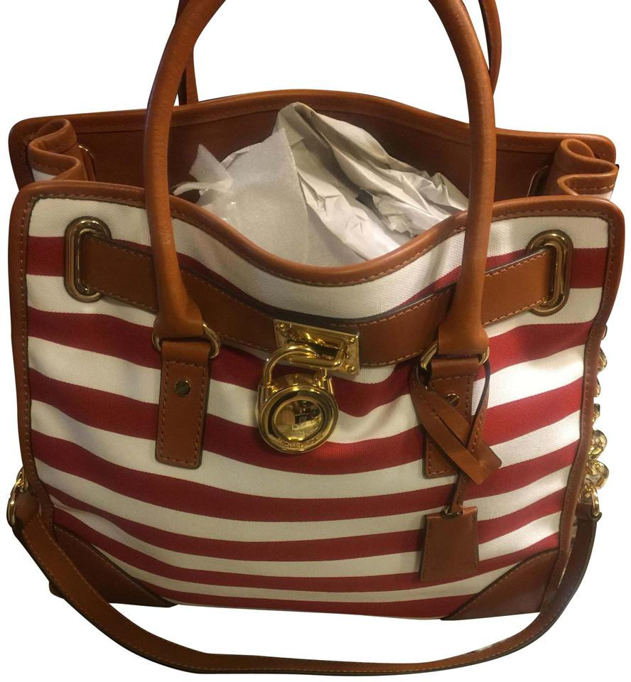 322777165419aa Michael Kors 35s3ghmt3r Stripe Tote in Mandarin Red/White/Luggage Image 0  ...