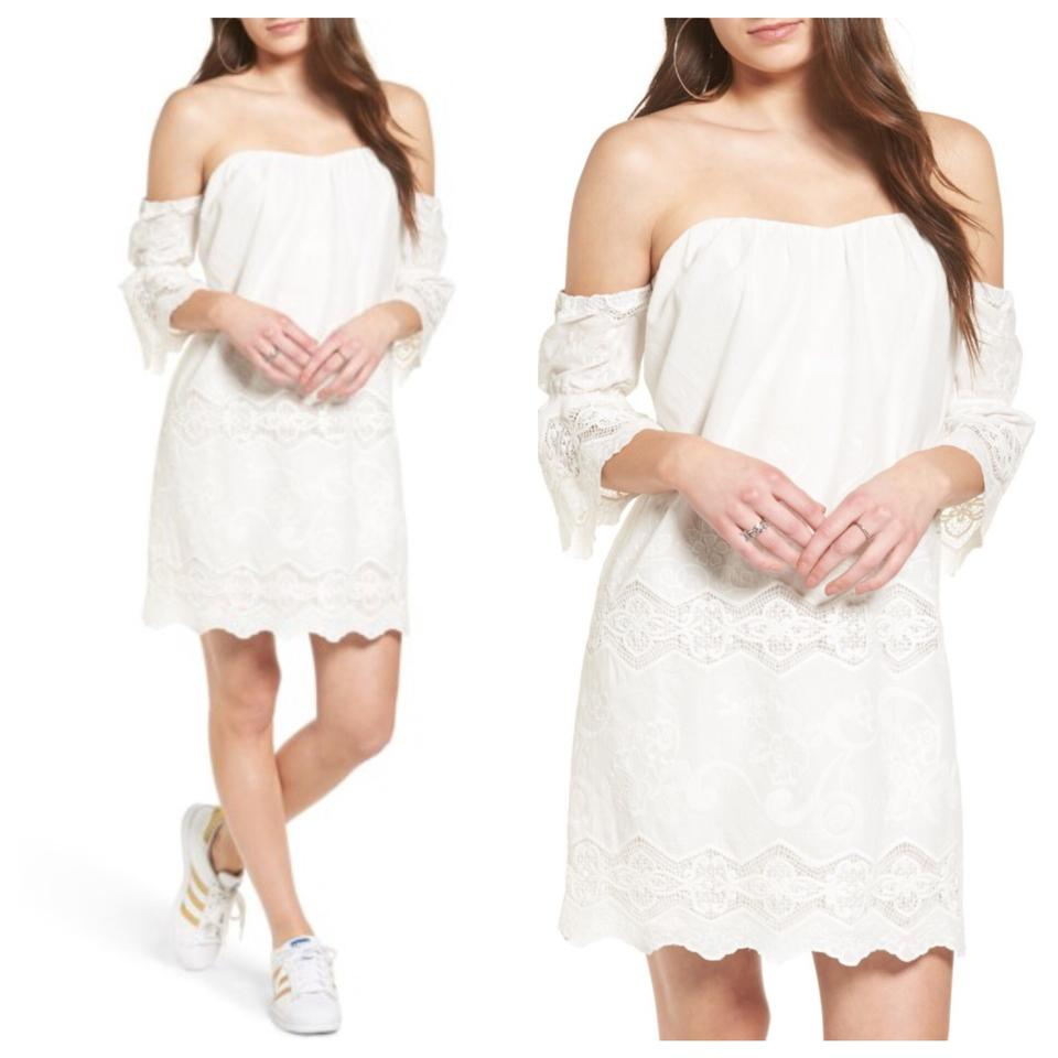 5a7af5c2c2 ASTR White The Label Lace Off The Shoulder Short Cocktail Dress Size ...