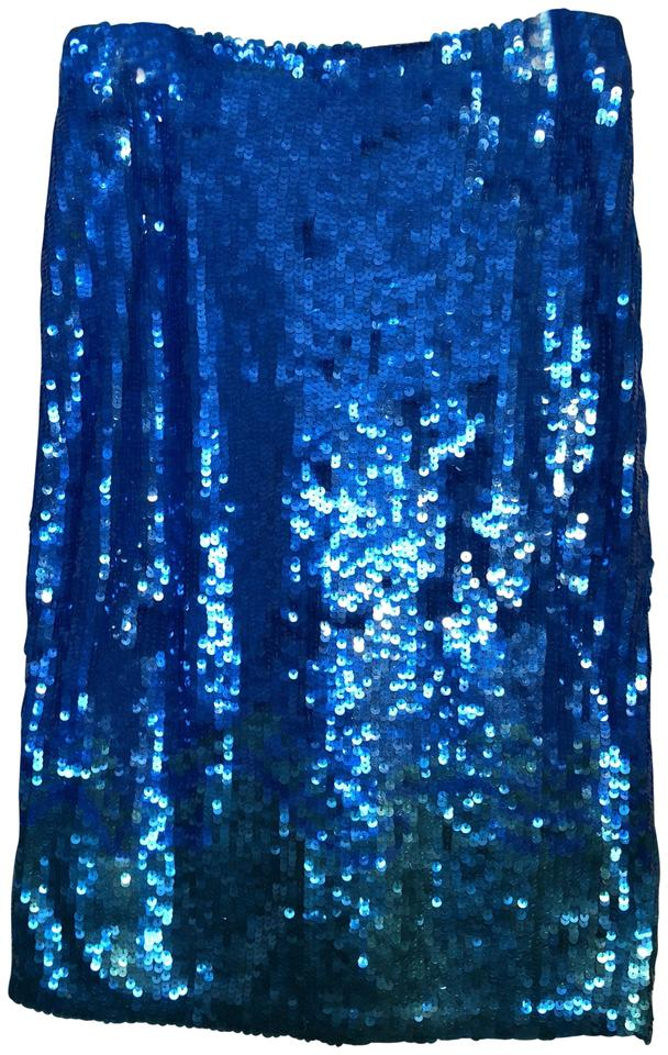 7de31997025 French Connection Sapphire Blue/Aqua Green Trim Sequined Skirt Size ...