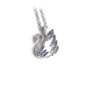 Swarovski New Swan Pendant Swarovski Necklace Mother of Pearl Blue Crystals