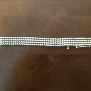 Hot Topic Brand New Silver Beaded Stretch Choker With Adjustable Closure