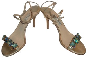 Jimmy Choo Thin Ankle Straps Gold Leather Custom Precious Gems Blue Topaz Gold, Aqua Sandals