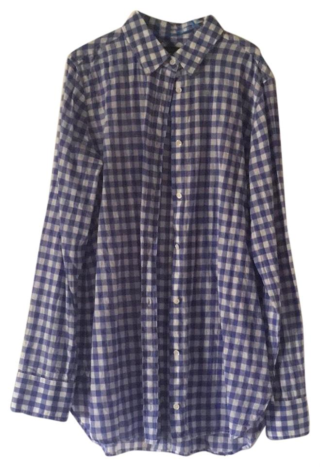 cf35ce23bcf7c J.Crew Blue and White Cotton Gingham Shirt Button-down Top Size 0 ...