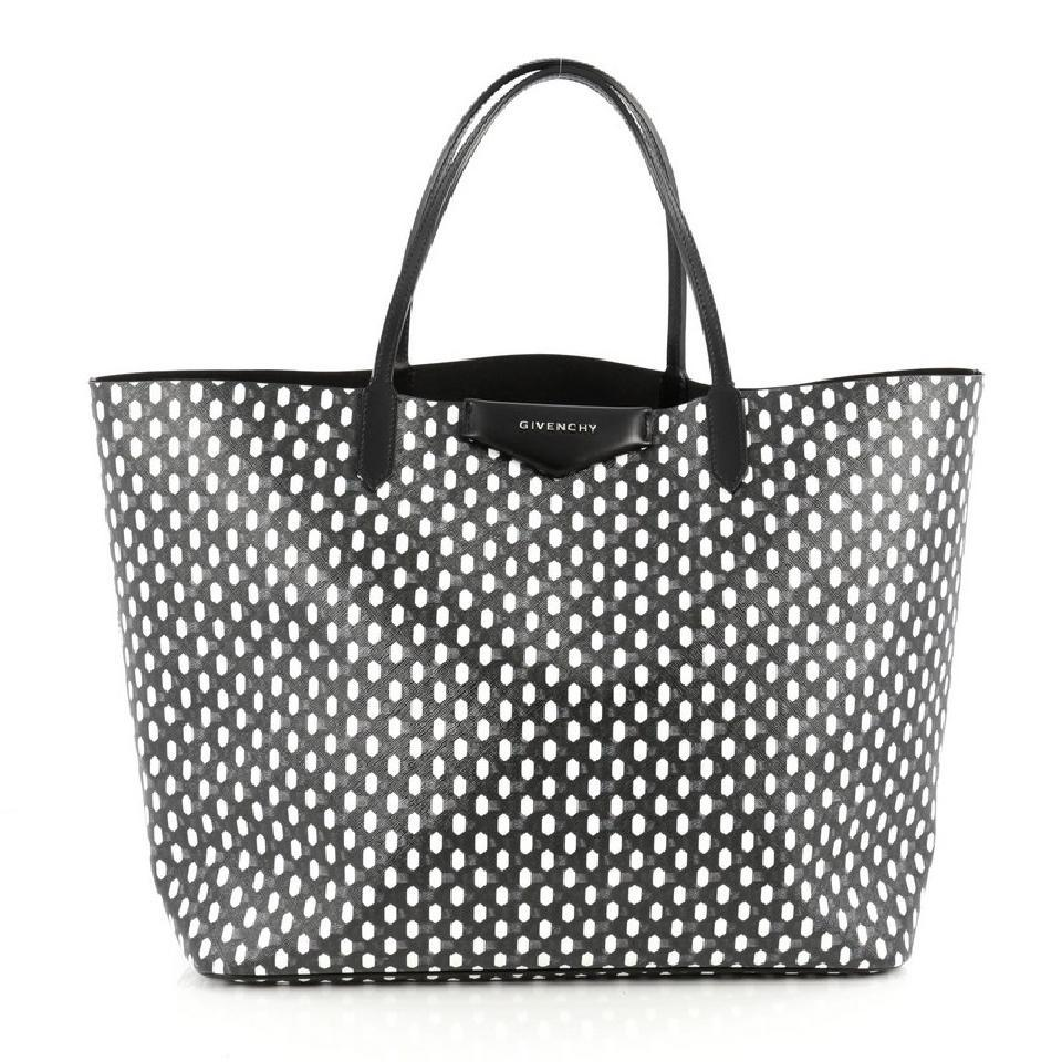 fbf5491a9ffee Givenchy Large Antigona Shopping Black and White Coated Canvas Tote ...