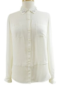 Candie's Rhinestones Collar Button Up Top Ivory