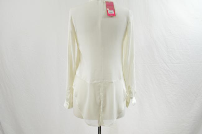 Candie's Rhinestones Collar Button Up Sheer Longsleeve Top Ivory