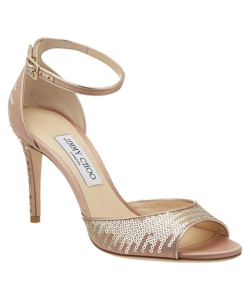5580c626b747 Jimmy Choo Rose Gold 85 Annie Degrade Pailettes Peep Toe Sandals ...
