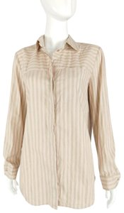 Lafayette 148 New York Striped Grey Buttons Blouse Button Down Shirt Pink