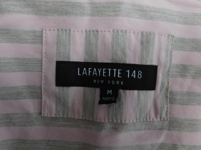 Lafayette 148 New York Striped Grey Buttons Blouse Button Down Shirt Pink Image 1