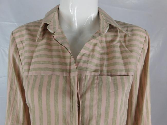 Lafayette 148 New York Striped Grey Buttons Blouse Button Down Shirt Pink Image 2