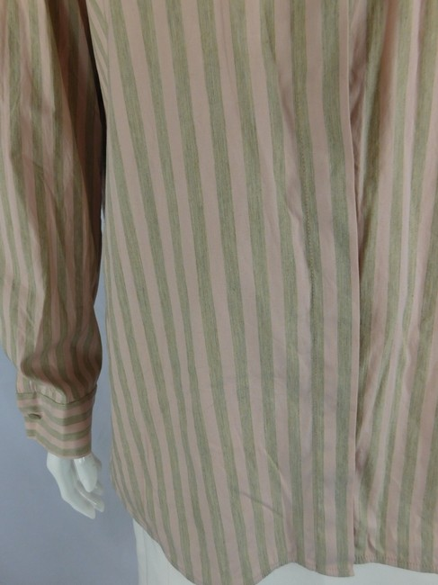 Lafayette 148 New York Striped Grey Buttons Blouse Button Down Shirt Pink Image 3