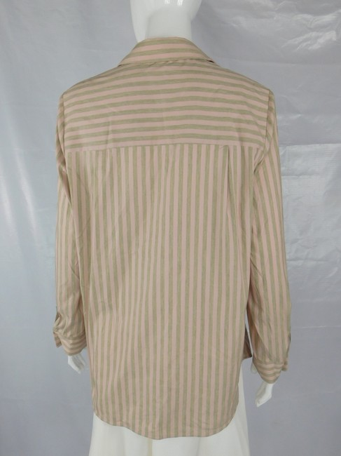 Lafayette 148 New York Striped Grey Buttons Blouse Button Down Shirt Pink Image 4