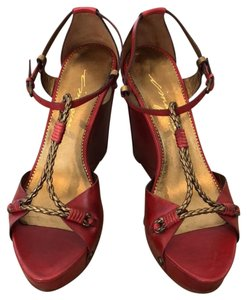 Vince Camuto Red, Gold Wedges